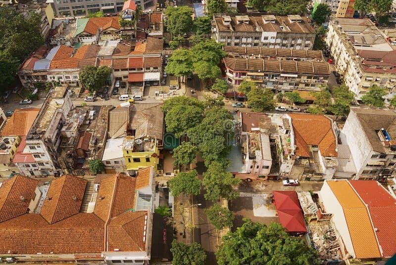 对住宅区大厦的鸟瞰图在吉隆坡,马来西亚 免版税库存图片