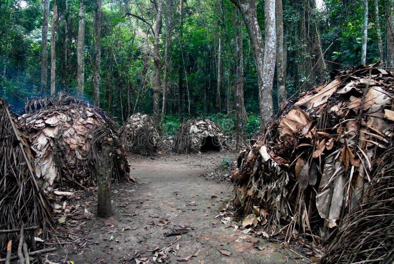 对侏儒鲍卡村庄, Somalomo, Dja国家公园,喀麦隆的看法 库存图片