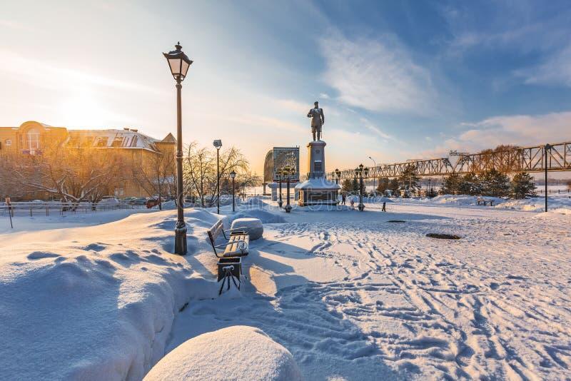 对俄国皇帝亚历山大的纪念碑三 编译的街市现代新西伯利亚俄国 免版税库存图片