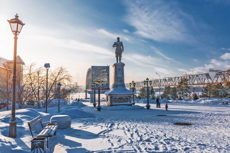 对俄国皇帝亚历山大的纪念碑三 编译的街市现代新西伯利亚俄国 库存照片