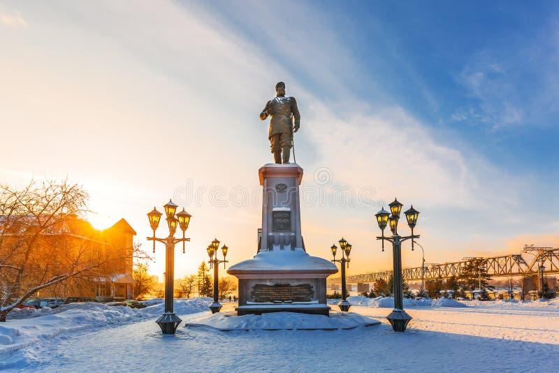 对俄国皇帝亚历山大的纪念碑三 编译的街市现代新西伯利亚俄国 图库摄影