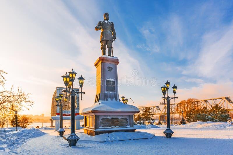 对俄国皇帝亚历山大的纪念碑三 编译的街市现代新西伯利亚俄国 免版税库存照片