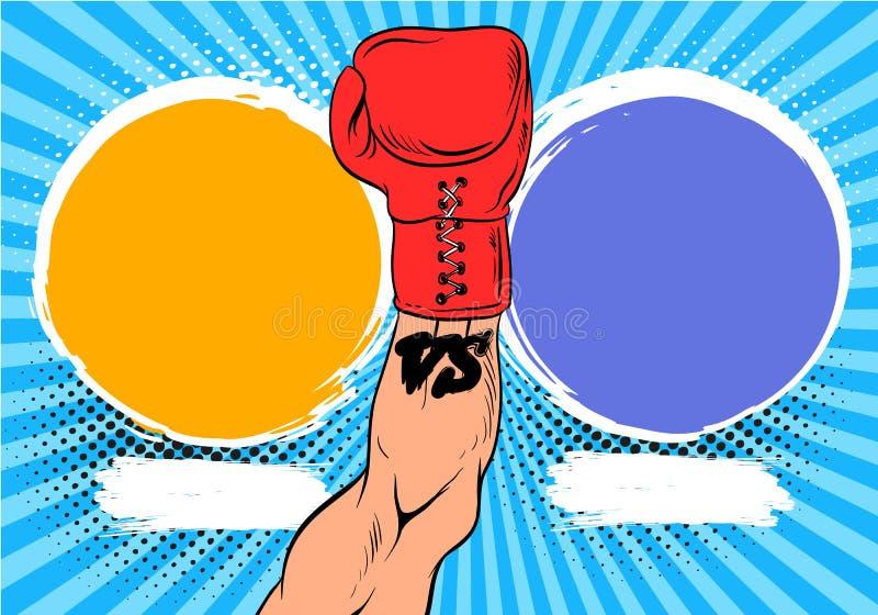 对信件战斗背景漫画样式设计 在拳击手套传染媒介例证的手 向量例证