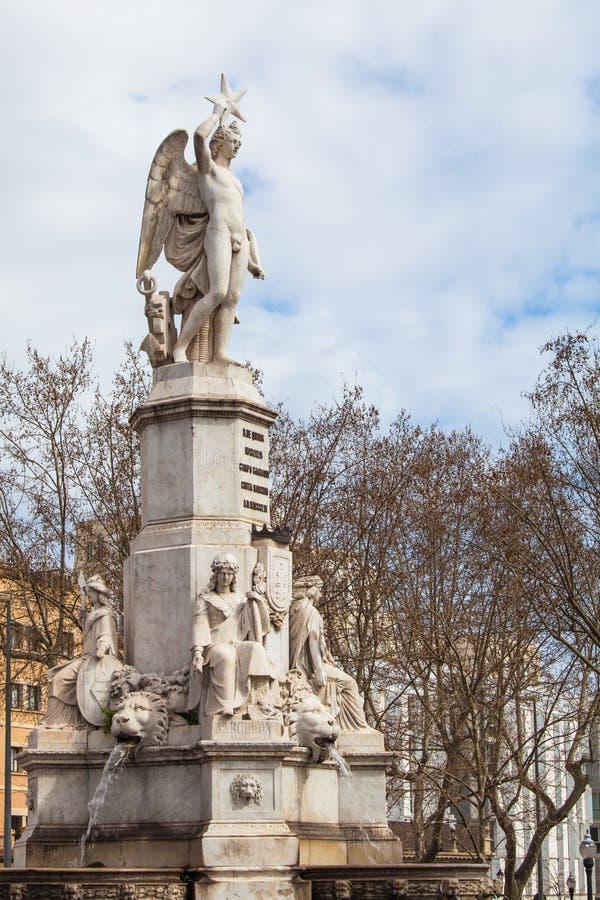 对候爵de园地萨格拉多的纪念碑 巴塞罗那西班牙 库存照片