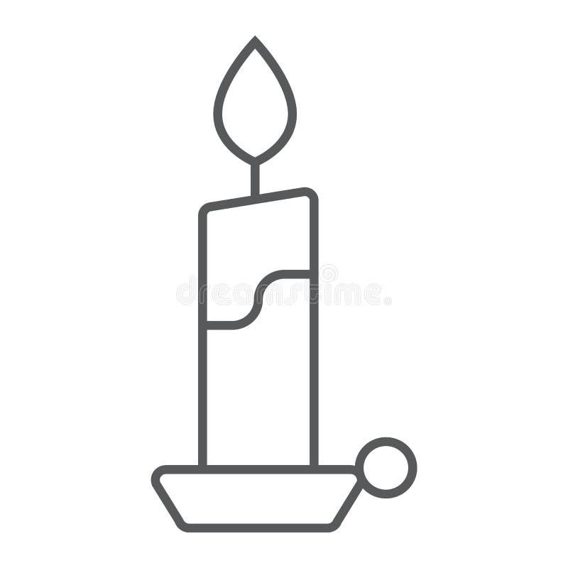 对光检查稀薄的线象,火焰和火,烛光标志,向量图形,在白色背景的一个线性样式 库存例证