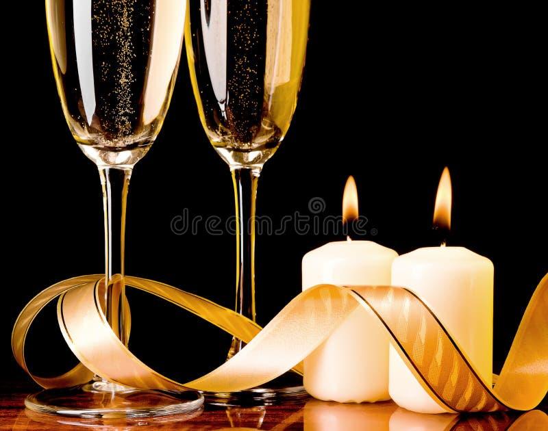 对光检查香槟玻璃二 库存照片