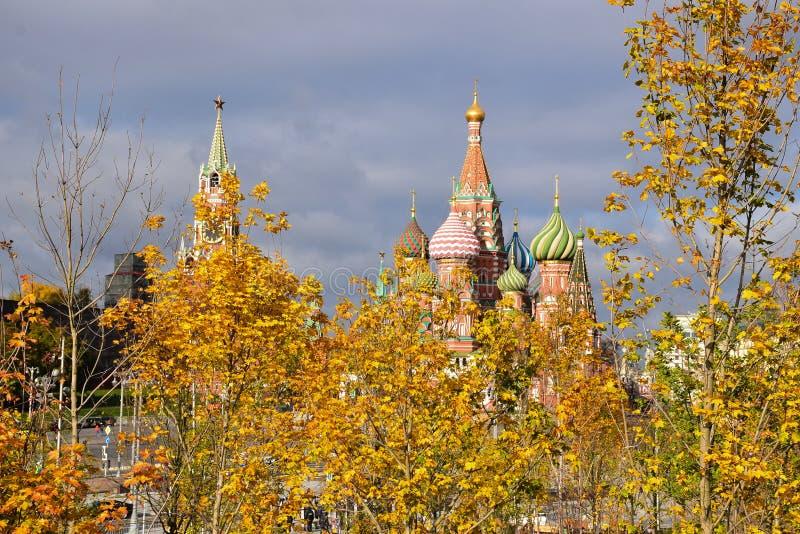 对克里姆林宫和StBasil的大教堂的一个看法 库存照片