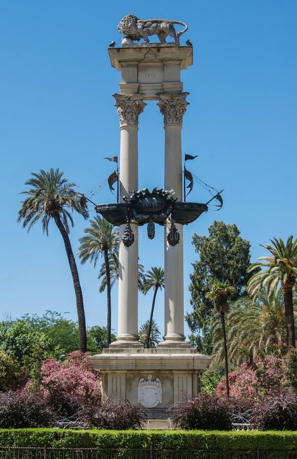 对克里斯托弗・哥伦布的纪念碑Jardines的de Murillo在塞维利亚 库存照片