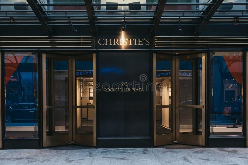 对克里斯蒂的陈列室的入口在曼哈顿中城,纽约 免版税库存照片
