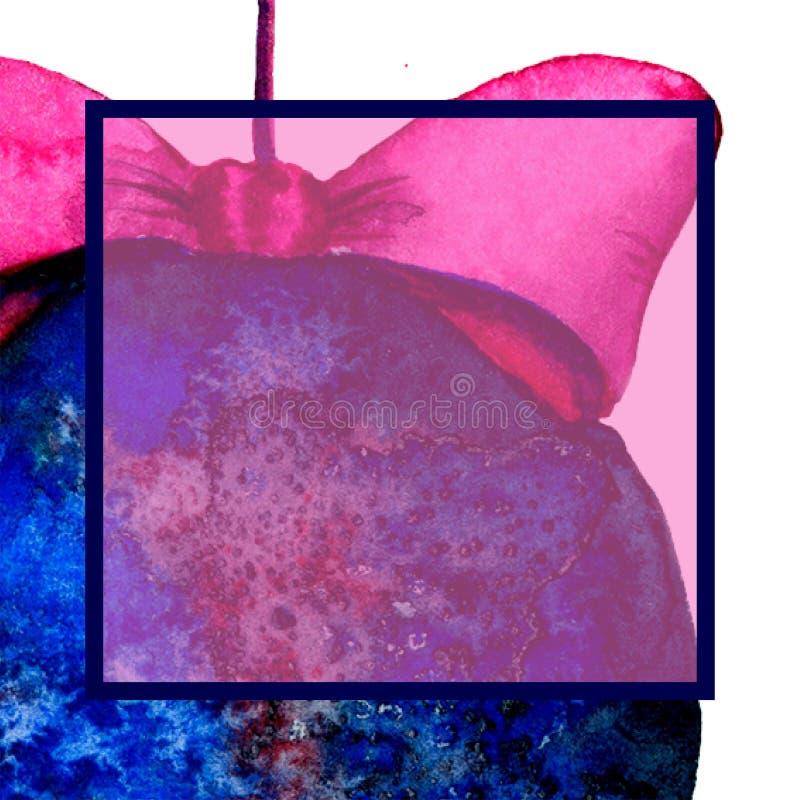 对党的一个方形的邀请 圣诞节球 与空间的模板文本的 水彩 向量例证