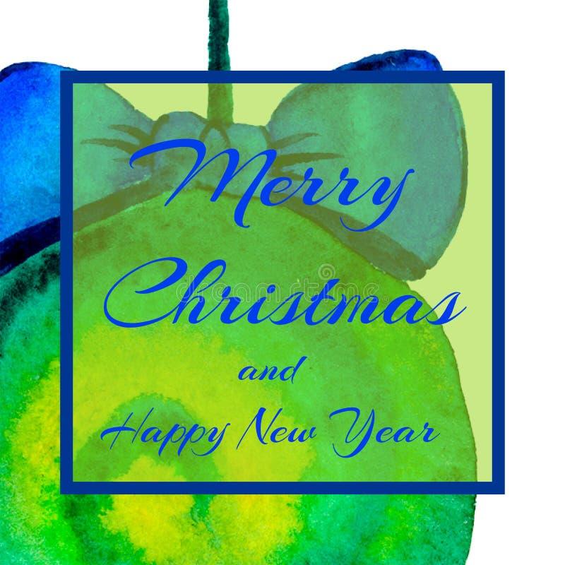 对党的一个方形的邀请 圣诞节球 文本-愉快的圣诞节和新年 水彩 向量例证