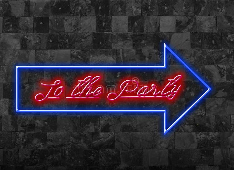 对党签署在黑暗的墙壁前面的变暗的蓝色红色字体 库存图片