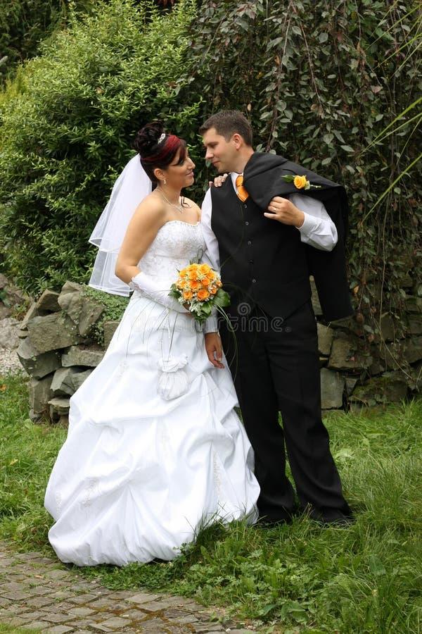 对公园婚礼 免版税库存照片