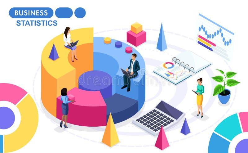 对关于项目的工作的数据的汇集和分析的等量概念 在活动中等量的人民 向量例证