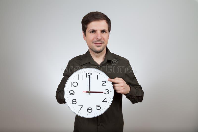 对冬天的时钟变动 图库摄影