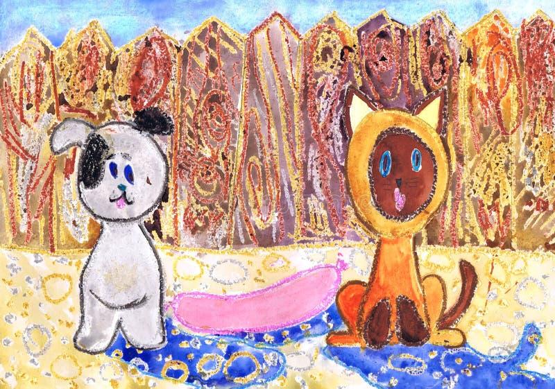 对动画影片小猫的例证名叫Gav 儿童` s图画 向量例证
