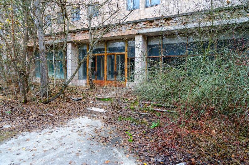对医院126,被放弃的鬼城Pripyat,切尔诺贝利NPP疏远区域,乌克兰的入口 库存照片