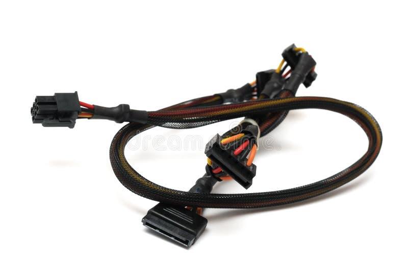 对十五个别针连续ATA力量分枝电缆的六个别针力量 免版税库存照片