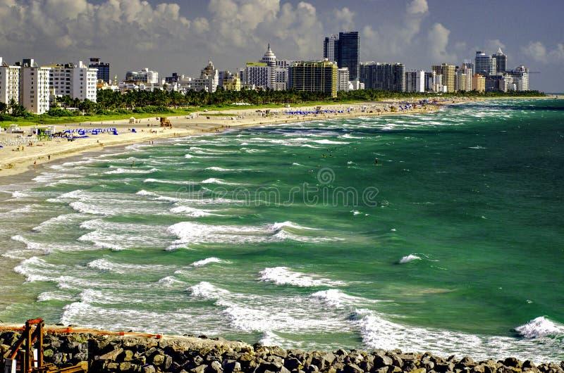 对南Pointe海滩,佛罗里达的迈阿密海滩视图 图库摄影