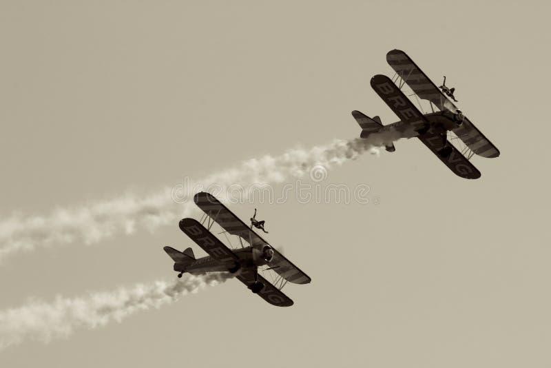 对双翼飞机 库存照片
