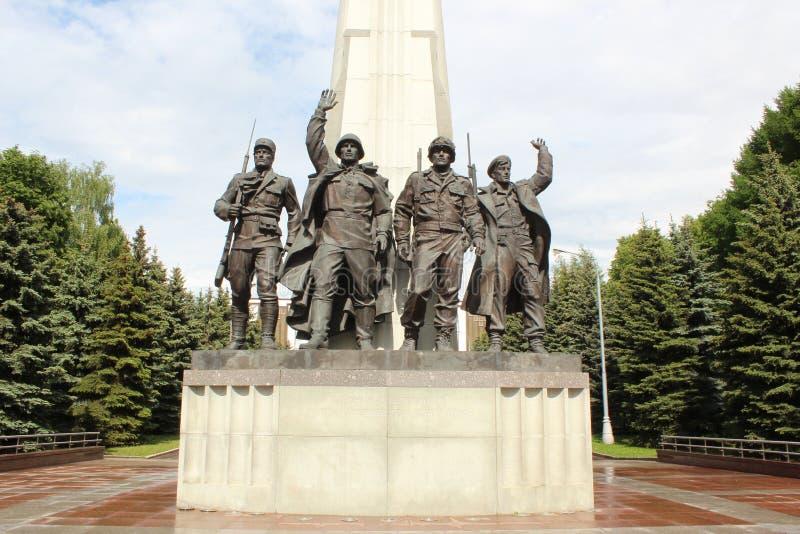 对反希特勒联合与会国的纪念碑在胡同党羽的 Poklonnaya小山 免版税图库摄影