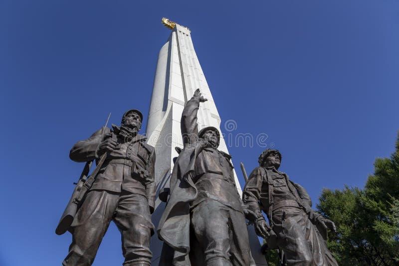 对反希特勒联合国家,胡同党羽的纪念碑在Poklonnaya小山的,莫斯科,俄罗斯胜利公园 库存照片