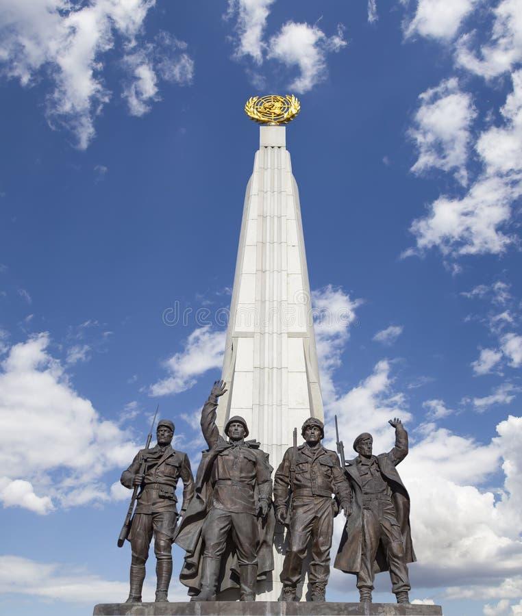 对反希特勒联合国家,胡同党羽的纪念碑在Poklonnaya小山的,莫斯科,俄罗斯胜利公园 免版税图库摄影