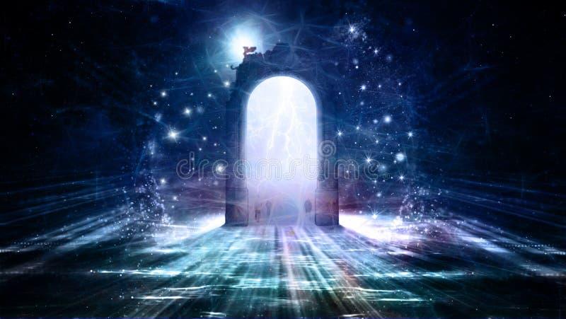 对另一个维度的多彩多姿的门道入口 皇族释放例证