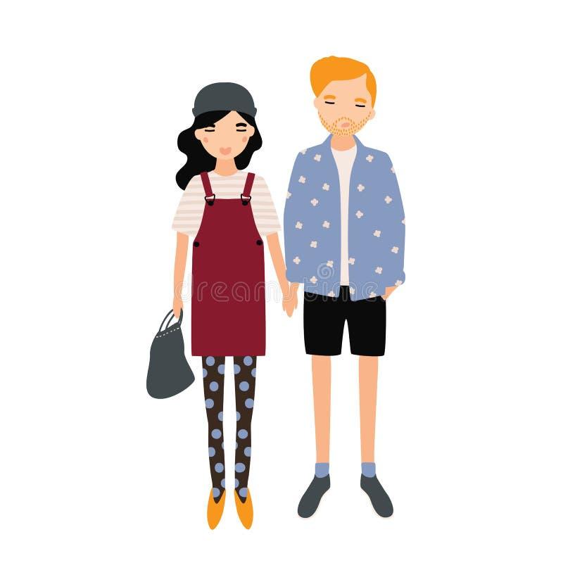 对可爱的男人和妇女一起站立和握手的时髦成套装备的 逗人喜爱的现代夫妇 动画片 向量例证