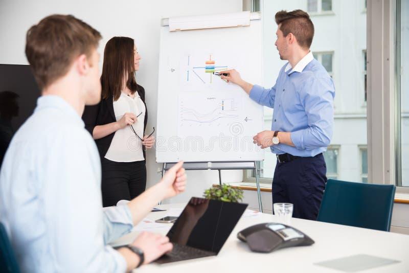对同事的行政解释的介绍在办公室 免版税图库摄影