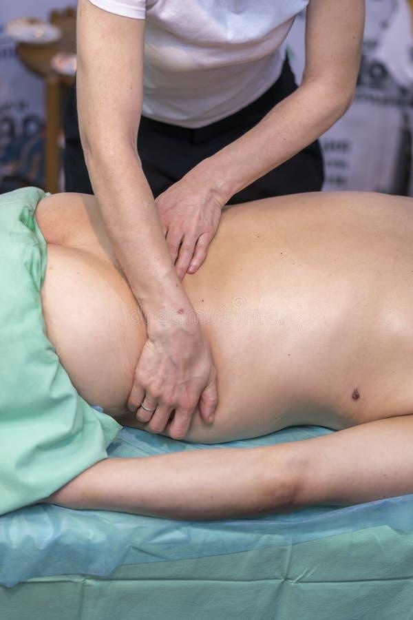 对后面按摩做的生理治疗师她的患者在医疗办公室 免版税图库摄影