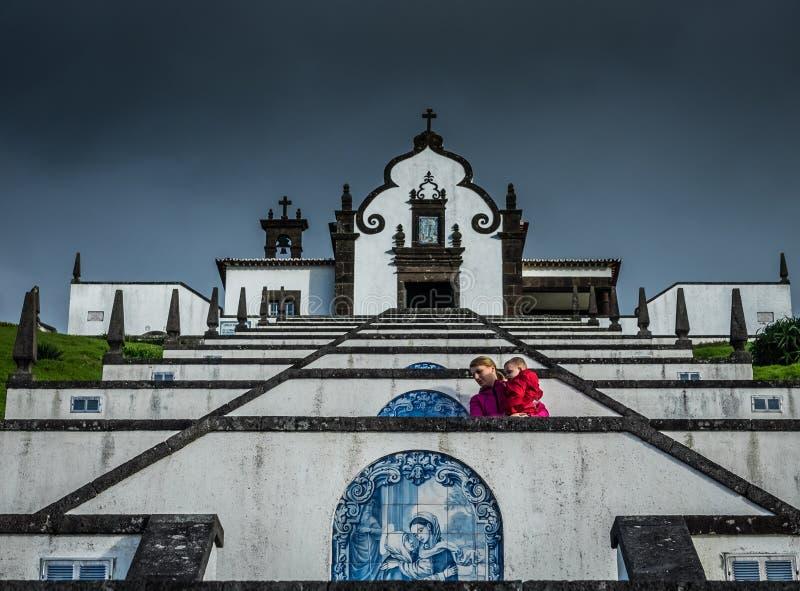 对和平教堂的我们的夫人的上升的台阶 库存照片