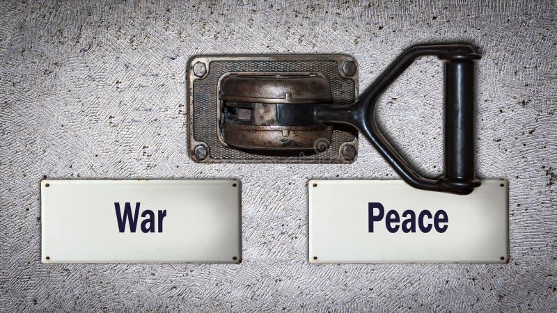 对和平的墙壁开关对战争 库存图片