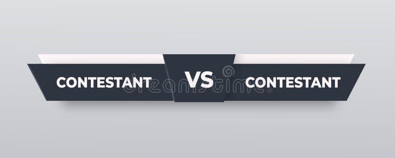 对商标 对对手的委员会,有文本的空间的 r 灰色对横幅 橄榄球,篮球,足球屏幕 向量例证