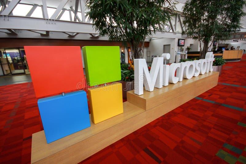 对国际大会的入口在开微软汇合会议的前夕 库存图片