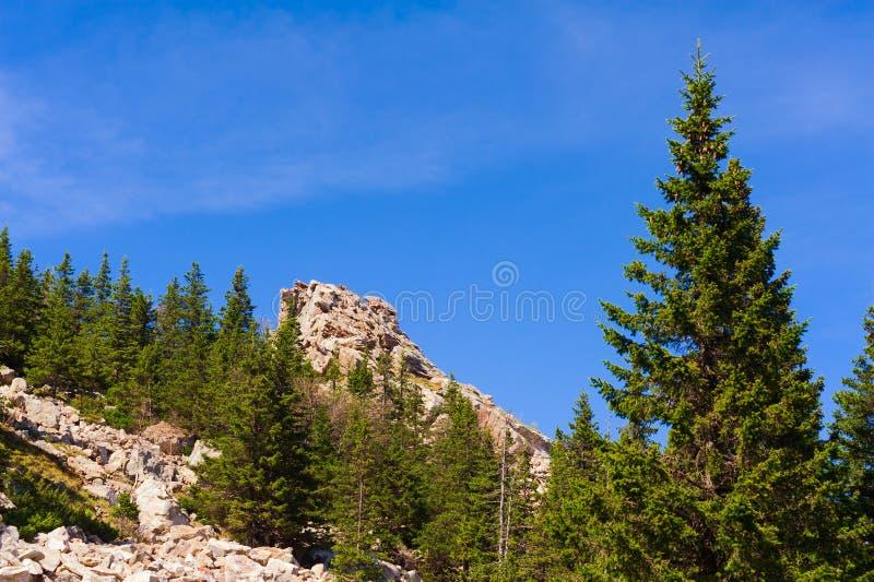 对土坎Zyuratkul的攀登沿大石头道路  免版税库存图片