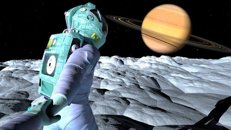 对土星的跟我学 库存例证