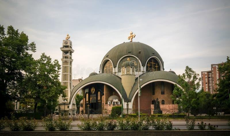 对圣克里门特Ogridsky大教堂,斯科普里,北部马其顿的外视图 库存照片