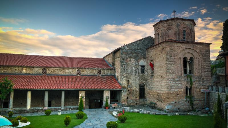 对圣徒索非亚ortodox教会,奥赫里德,北部马其顿的外视图 免版税图库摄影