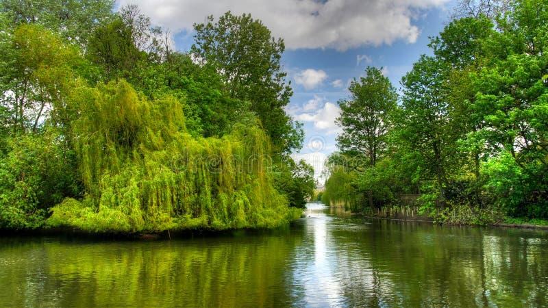 对圣詹姆斯` s公园的夏天视图 伦敦英国 免版税库存图片