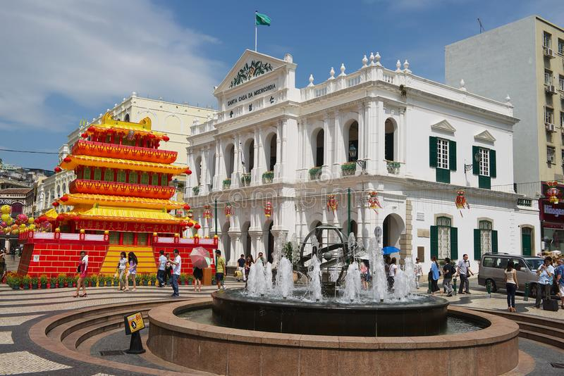 对圣诞老人住处Da Misericordia大厦的看法在澳门,中国的历史中心 库存图片