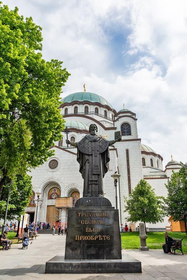 对圣Sava的纪念碑在圣徒附近Sava大教堂在贝尔格莱德 库存照片