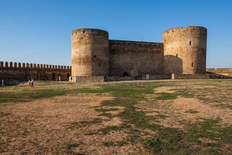 对在德诺尔出海口的银行的Akkerman堡垒的看法,在傲德萨地区 免版税图库摄影