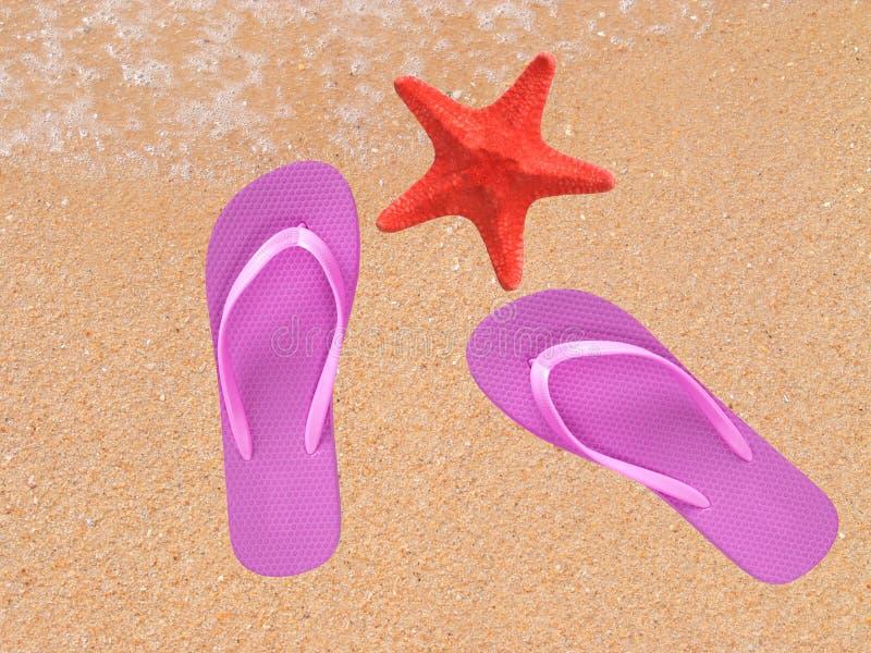 对在沙子的塑胶人字平底拖鞋与seastar 免版税库存照片