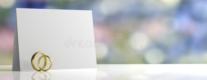 对在白色桌上和空插件隔绝的金婚圆环,弄脏淡色背景,横幅,拷贝空间, 3d例证 库存例证