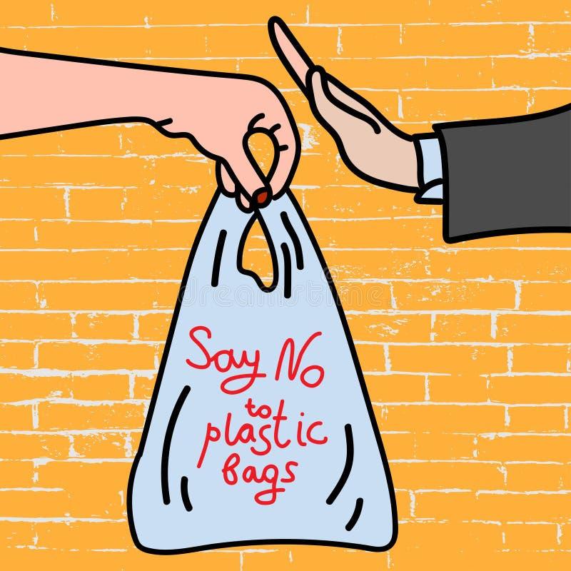 对在砖背景海报的塑料袋说不 库存例证