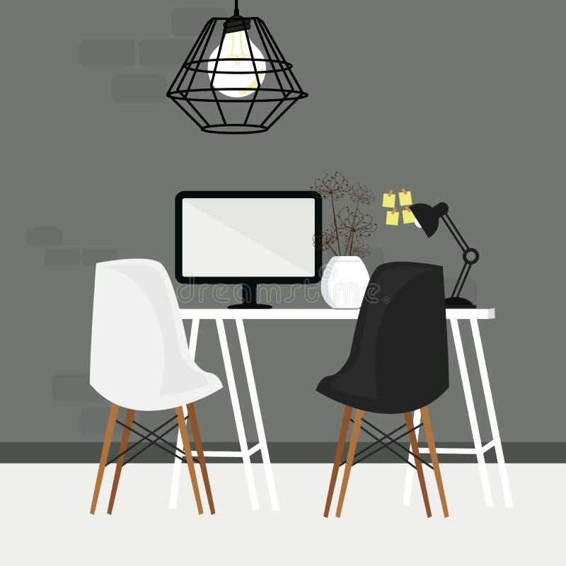 对在空的工作空间的椅子与计算机显示器和灯 库存例证