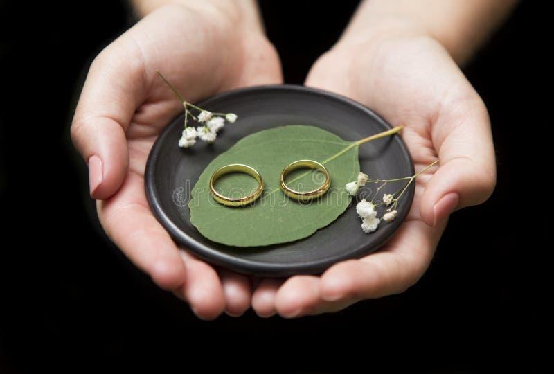 对在绿色叶子的金结婚戒指在妇女棕榈 免版税库存照片