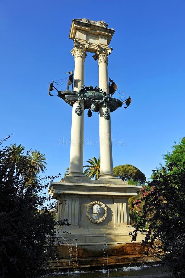 对在美国的发现的上纪念碑在塞维利亚,西班牙 免版税图库摄影