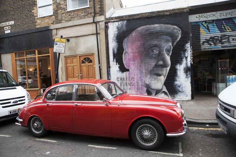 对地方人,查理的一张壁画在伦敦烧,跑Repton拳击俱乐部, s东边 免版税库存照片